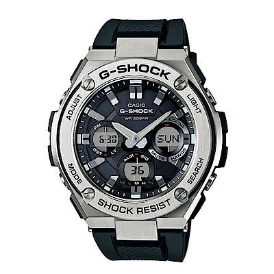 G-SHOCK絕對強悍分層防護構造防震概念休閒錶(GST-S 110 - 1 A)-銀框X黑 53 m