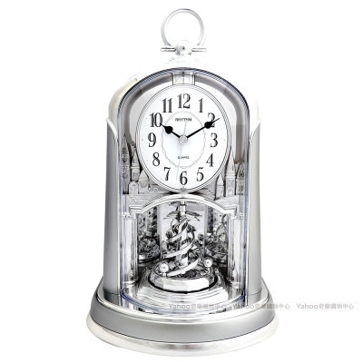 RHYTHM日本麗聲 極地之雪圓舞曲裝飾座鐘(亮銀)/24cm