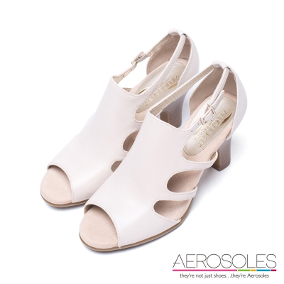 AEROSOLES-幾何剪裁木紋金屬釦帶涼鞋-裸色