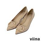 viina-女神系列-真皮C型珍珠尖頭高跟鞋-優雅杏