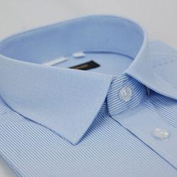 金‧安德森 藍色粗細條紋變化領窄版短袖襯衫