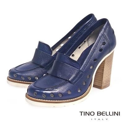 Tino Bellini 義大利進口摩登復古沖孔粗跟鞋_藍