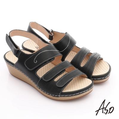 A.S.O 輕變鞋 全真皮粉彩氣墊涼鞋 黑色