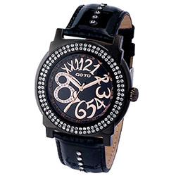 GOTO水漾超美水鑽時尚大數字腕錶-IP黑x玫/46mm
