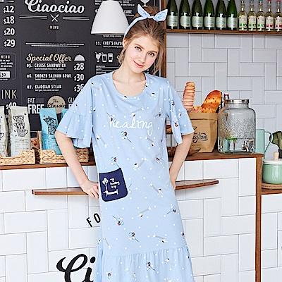 睡衣 臘腸狗氣球 精梳棉連身睡衣(R75051-灰藍)蕾妮塔塔