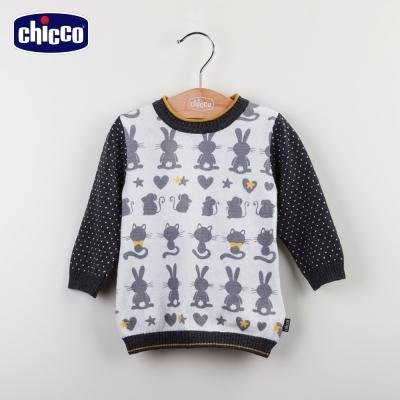 chicco針織動物洋裝-深灰(12m-24m)