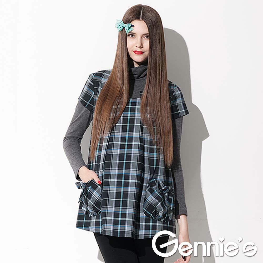 【Gennie's奇妮】俐落大方格紋拼接秋冬孕婦上衣-藍(C3410)