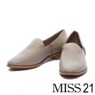 平底鞋 MISS 21 極簡生活縮花牛皮樂福鞋-灰