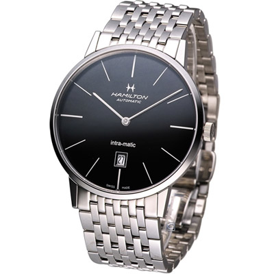 Hamilton Intra-Matic 優雅復刻機械腕錶-黑/42mm