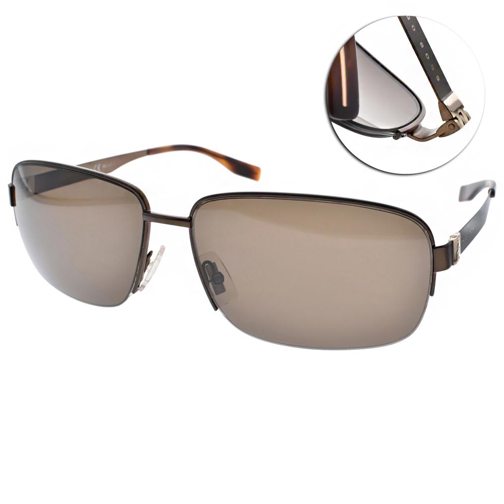 HUGO BOSS偏光太陽眼鏡 飛官半框款/棕#HB0619FS Q7X