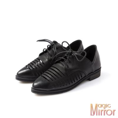 Magic-mirror-法式優雅-復古擦色簍空設計牛津鞋-紳士黑