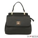 La Moda 精品質感波浪紋特殊旋鈕肩背手提波士頓包(黑)