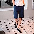 腰鬆緊側邊雙線條棉質短褲-OB大尺碼