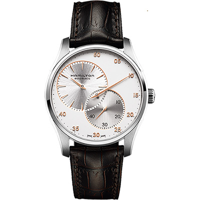 Hamilton JAZZMASTER 分秒必爭時尚機械腕錶-銀x咖啡/42mm