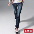 【EDWIN】混搭焦點 MISS BT配皮窄直筒牛仔褲-女款(酵洗藍)