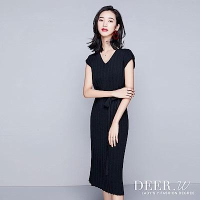 DEER.W V領百褶綁帶針織洋裝(共三色)