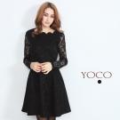東京著衣-yoco 透膚袖蕾絲洋裝(共二色)