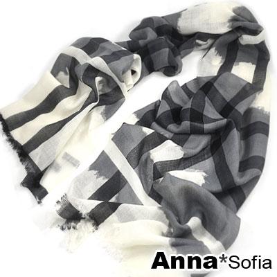AnnaSofia-型層交錯線款-薄款純羊毛圍巾-灰米系