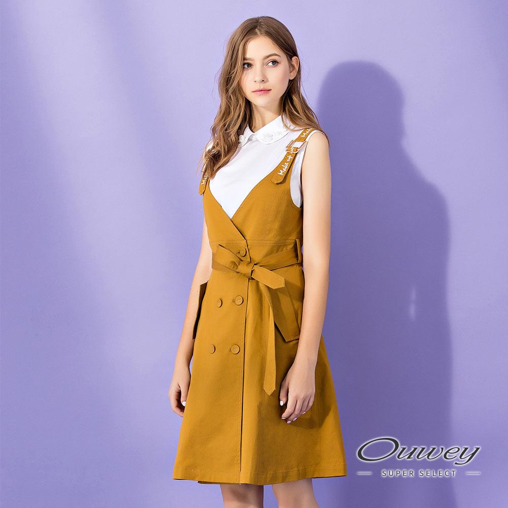 OUWEY歐薇 雙排釦造型背心洋裝(黃)