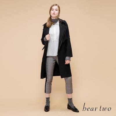 beartwo 率性雙層翻領風衣外套(黑色)
