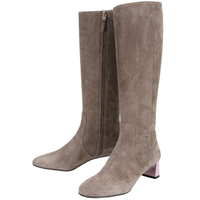 FENDI 麂皮拼接設計拉鍊粗跟長靴(灰色)