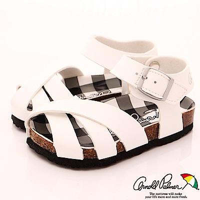 雨傘牌 休閒皮質涼鞋款 EI83804白 (中小童段)