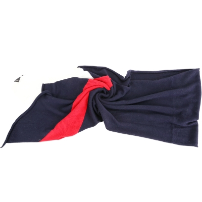 PINKO 深藍紅白拼色羊毛針織圍巾(50%WOOL)