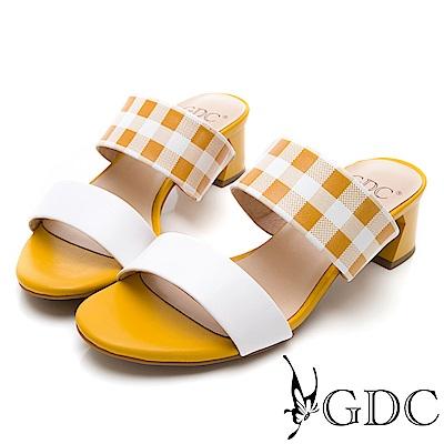 GDC-復古春夏格紋甜美一字低跟涼拖鞋-黃色