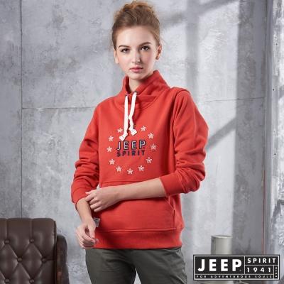 JEEP 女裝 時尚品牌文字刺繡圖騰帽TEE -橘紅