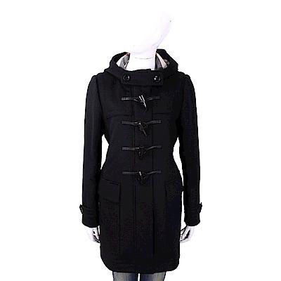 BURBERRY 100%羊毛黑色連帽牛角扣大衣