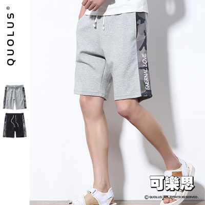 可樂思 側邊 迷彩 圖樣 抽繩 棉短褲