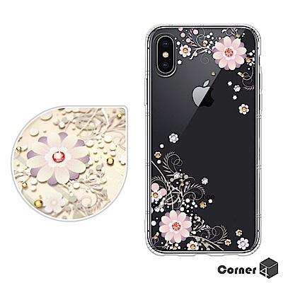 Corner4 iPhoneX 奧地利彩鑽防摔手機殼-風鈴草