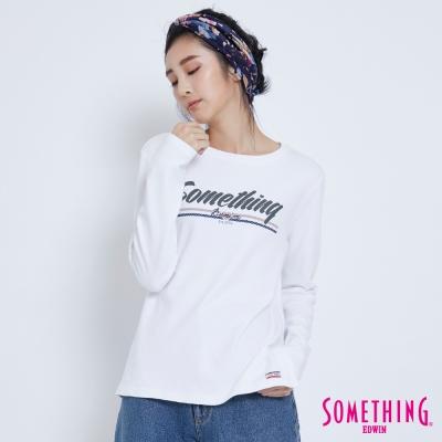 SOMETHING 簡約LOGO長袖T恤-女-白色