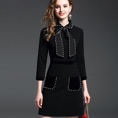 a la mode 艾拉摩兒 鑲珠大領結雙口袋七分袖洋裝(二色/S-XL)