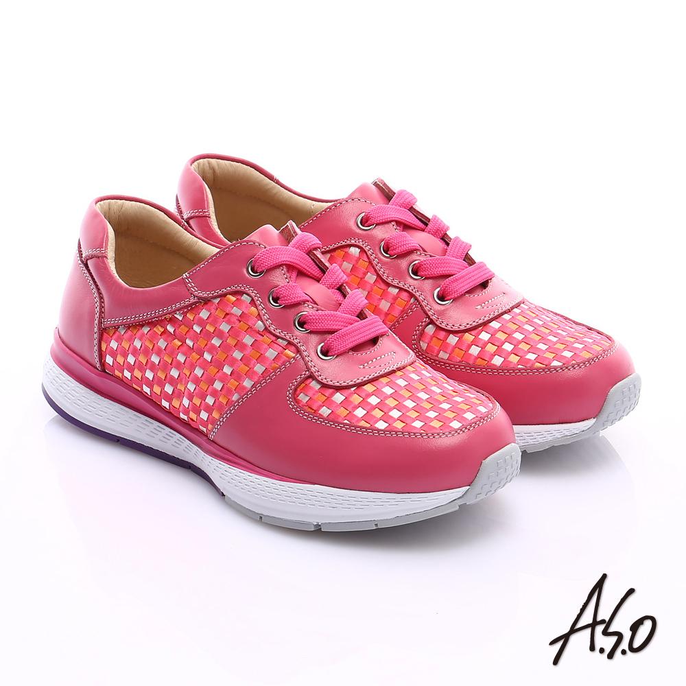 A.S.O 時尚風潮 真皮編織布料奈米綁帶休閒鞋 桃粉紅