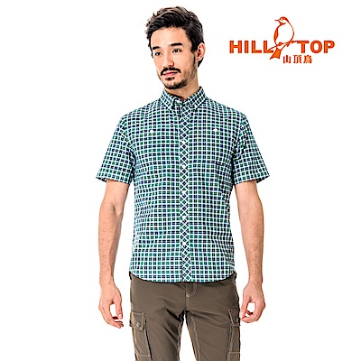 【hilltop山頂鳥】男款吸濕排汗抗UV短襯衫S06M65-綠格紋