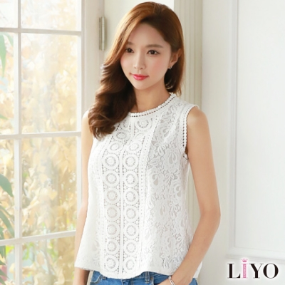LIYO理優蕾絲無袖顯瘦寬鬆傘襬上衣首爾同步流行款S-XL
