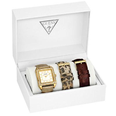 GUESS 顛覆時尚都會晶鑽套錶組-金/34mm