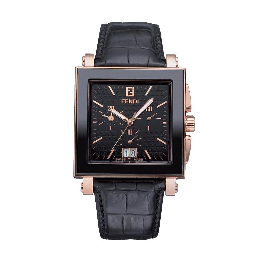 FENDI CERAMIC 璀璨時光三眼計時腕錶-黑x玫瑰金/38mm