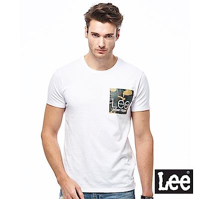 Lee 迷彩小LOGO短袖圓領TEE-男款-白