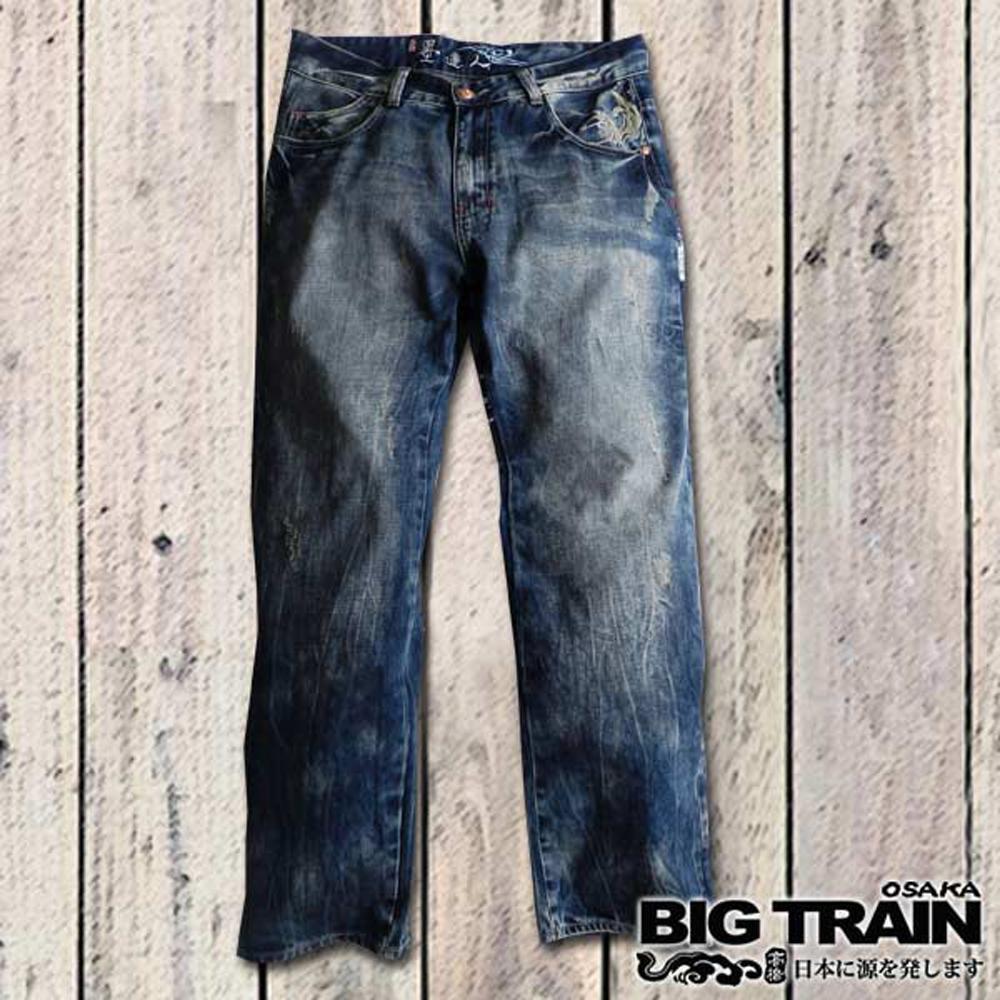 BIG TRAIN-達磨浪紋3D垮褲-中深藍