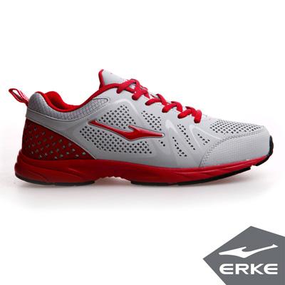 ERKE 鴻星爾克。男運動常規慢跑鞋-淺灰/大紅