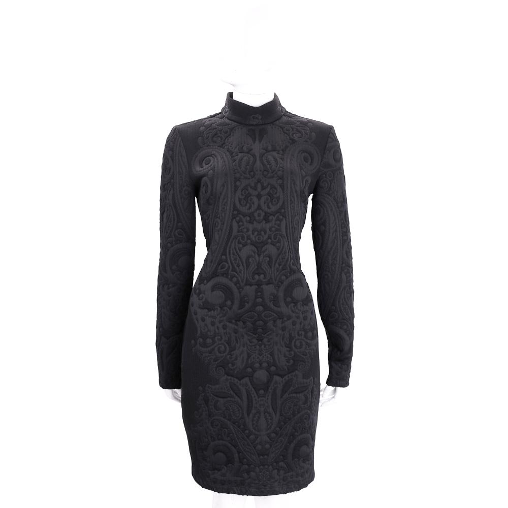 VERSACE 黑色浮雕圖騰立領長袖洋裝