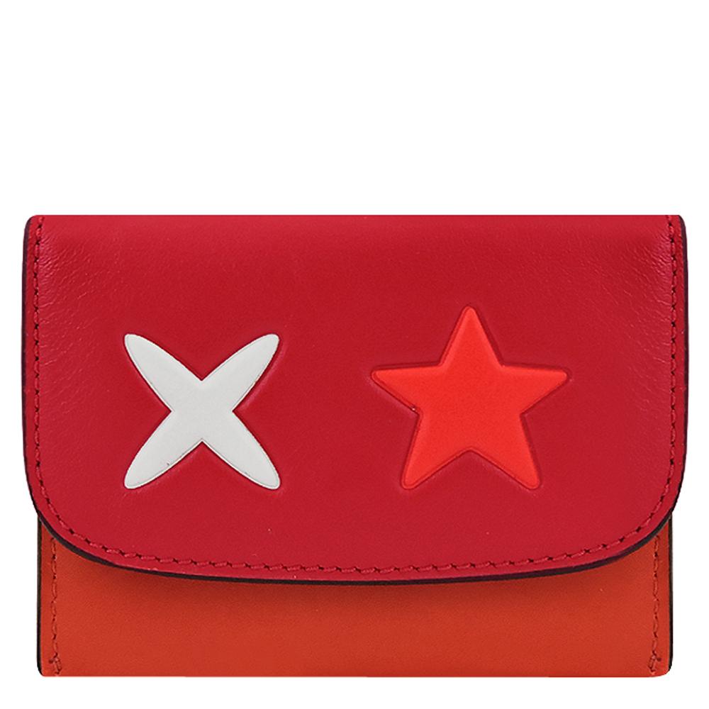 COACH 紅色皮革壓紋證件三卡名片夾COACH