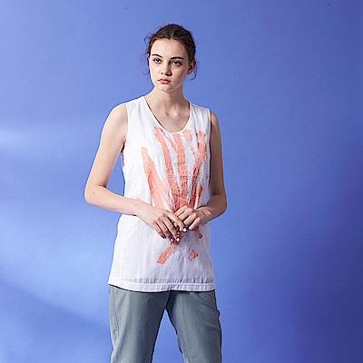 ICHE 衣哲 微甜粉嫩圓領刷色印花無袖微寬造型上衣(兩色)-粉