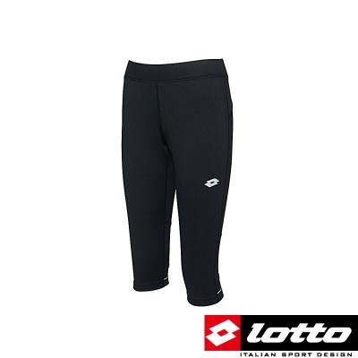 LOTTO 義大利-女慢跑透氣七分褲 (黑)