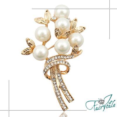 iSFairytale伊飾童話 珍珠花束 金屬水鑽胸針