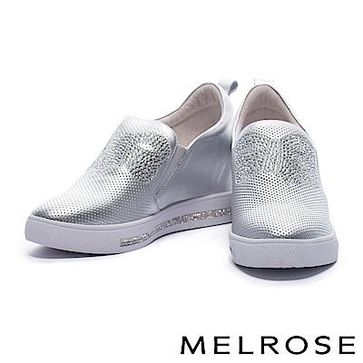 休閒鞋 MELROSE 奢華俏麗晶鑽蝴蝶結設計沖孔拼接厚底休閒鞋-銀
