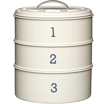 KitchenCraft 復古三層點心密封罐(奶油黃)