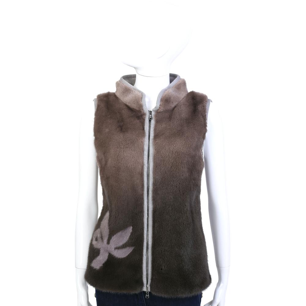 GRANDI furs 咖啡色漸層雙材質拼接皮草背心